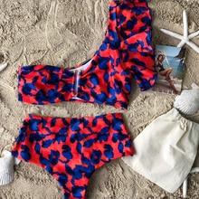 2021 New Sexy Bikinis Women High Waist Swimsuit Push Up Swimwear Flower Print Ruffle Bikini Set Beach Wear Bathing Suit