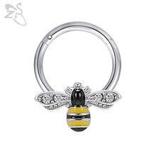 ZS 1 pieza Diseño de Abeja Piercing de nariz de acero inoxidable para los hombres y las mujeres lindo Animal de la nariz, Piercings 16g oreja Piercing para cartílago