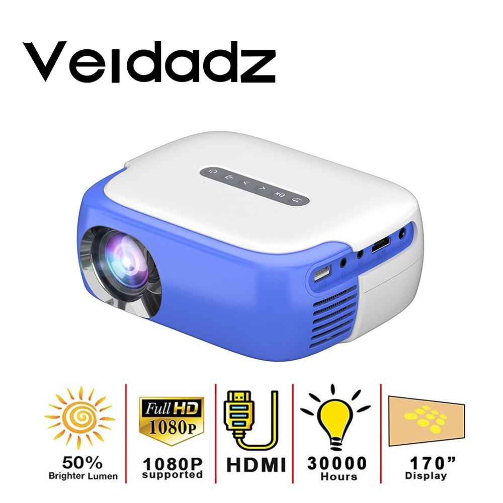 VEIDADZ RD860 Projector Media Player 640*360 Pixels 1080P Full HD Supported with HDMI/USB/AV/Audio Interface for Home Theatre