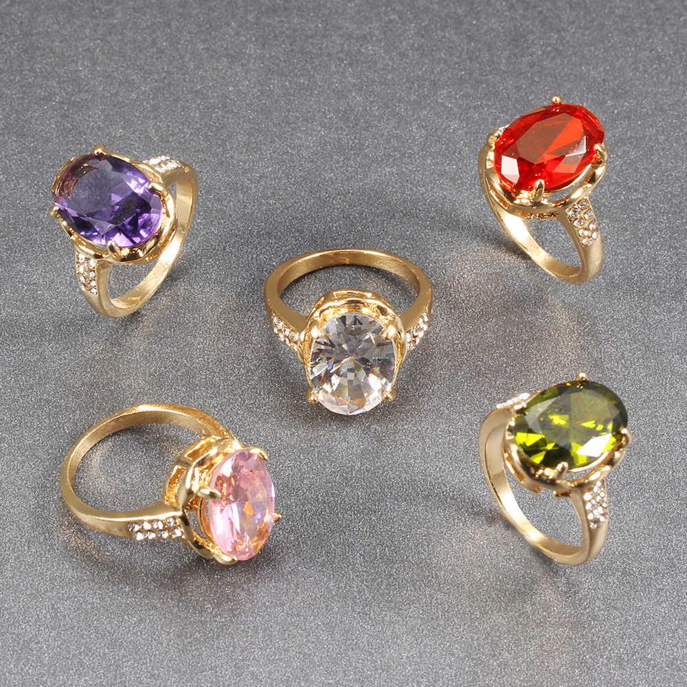 סגלגל נסיכת מעוקב Zirconia צבע טבעת אירוסין כלה טבעת אופנה מדהים באיכות גבירותיי תכשיטי המפלגה טבעת