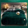 Прямая поставка  зимнее мягкое теплое Красное Желтое Коралловое бархатное стеганое одеяло  покрывало для кровати  цельное Фланелевое утепл...