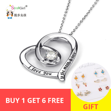 StrollGirl 100%925 sterling silver love heart chain pendant necklace with zircon diy fashion jewelry making lover gift 2019 New strollgirl infinite love angle heart 925 sterling silver chain pendant necklace fashion jewelry necklaces