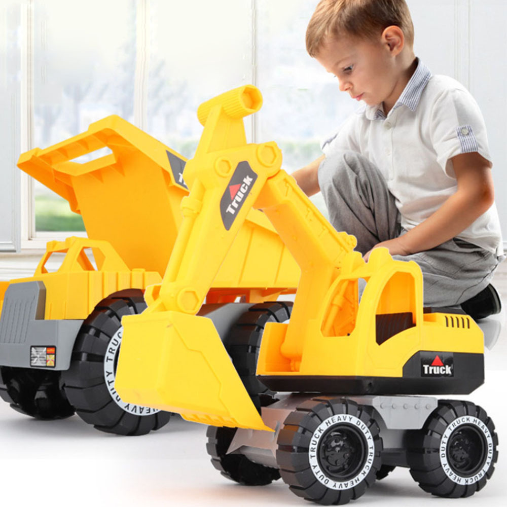 Baby Shining Toy Car Engineering Car Excavator Model Tractor Toy Dump Truck Model Classic Toy Vehicles Mini Gift for Boy(China)