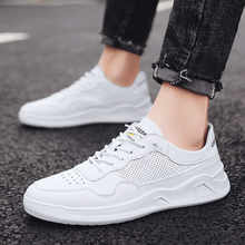 Sneakers Men Vulcanized Leather Shoes Simple Round Toe Casual Shoes Man White Daily Footwear Male Fashion Zapatos De Hombre(China)