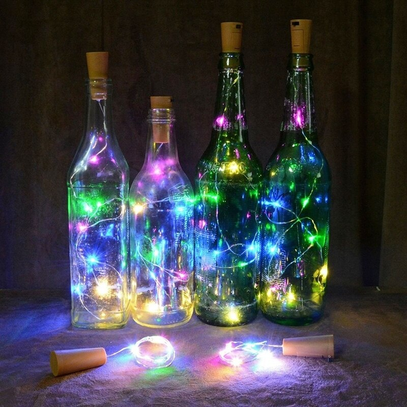 9 Colors 1M/2M/3M Wine Stopper Wine Bottle Cork Lights Copper Wire LED String Lights Wedding Festival Party Garland Decor New
