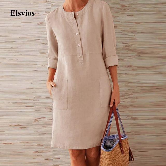 Elsvios Autumn Solid Button O-Neck Dress Women Pocket Long Sleeve Knee Party Dress Cotton Linen A-Line Boho Dress Vestido S-5XL
