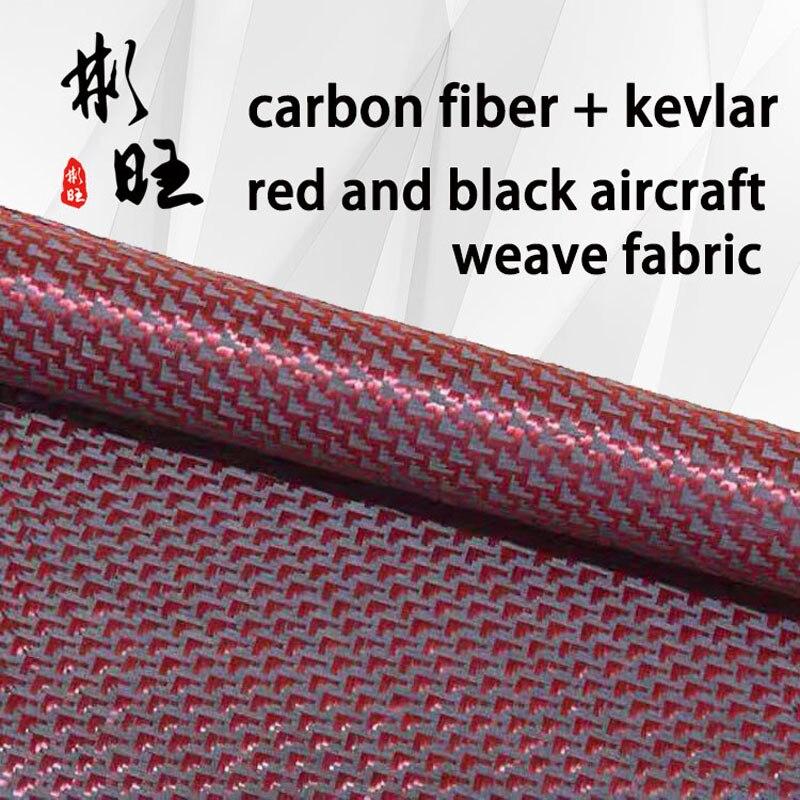 Tela negra de fibra de carbono 3k + kevlar rojo 1500D, rayas de avión rojo y negro, grano plano