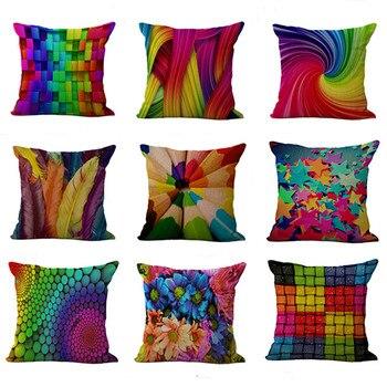 Funda de almohada arcoíris en espiral, funda de almohada colorida con plumas geométricas de poliéster, decoración para el hogar, coche, sofá, funda geométrica para almohada