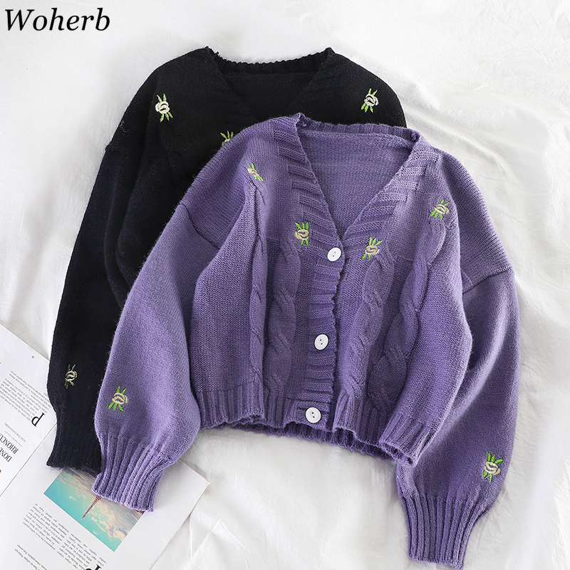 Woherb осенний женский свитер с цветочной вышивкой, кардиган, куртка, корейское вязаное пальто с длинным рукавом, винтажные вязаные кардиганы ...