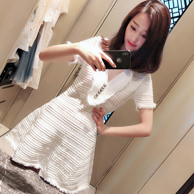 White V-collar Skirt Women's Dress Summer Wear 2018 New Style Korean-style Waist Hugging Debutante Graceful Jersey Dress Puffy