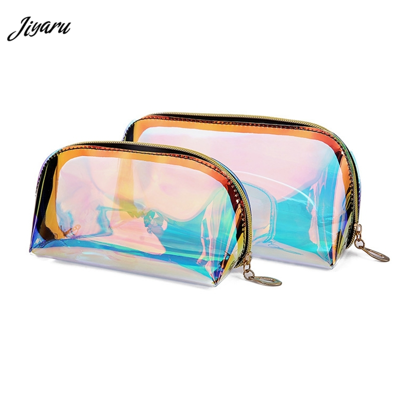 2019 Fashion Laser Cosmetic Bag Women Makeup Case TPU Transparent Beauty Organizer Pouch Female Jelly Bag Lady Make Up Pouch