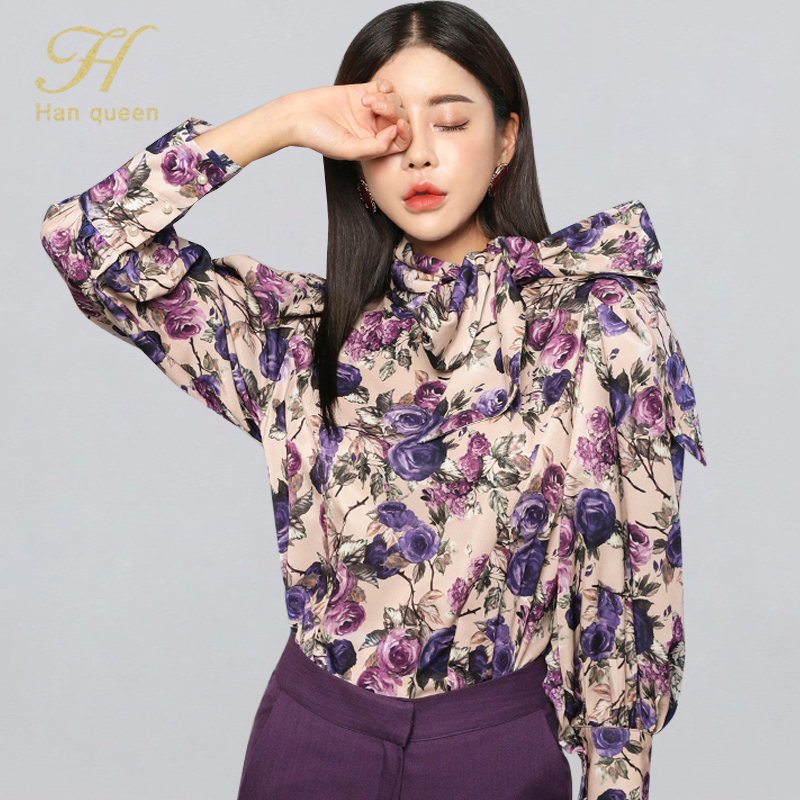 H Han Queen Winter Elegant Bow Ribbons Blouses Women 2019 New Korean Style Flower Floral Shirts OL Office Wear Halter Work Tops(China)