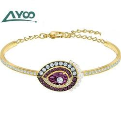 AYOO High-quality SWA. Peach Heart Tarot Crystal Water Drop Element, Beautiful Noble Lady Bracelet