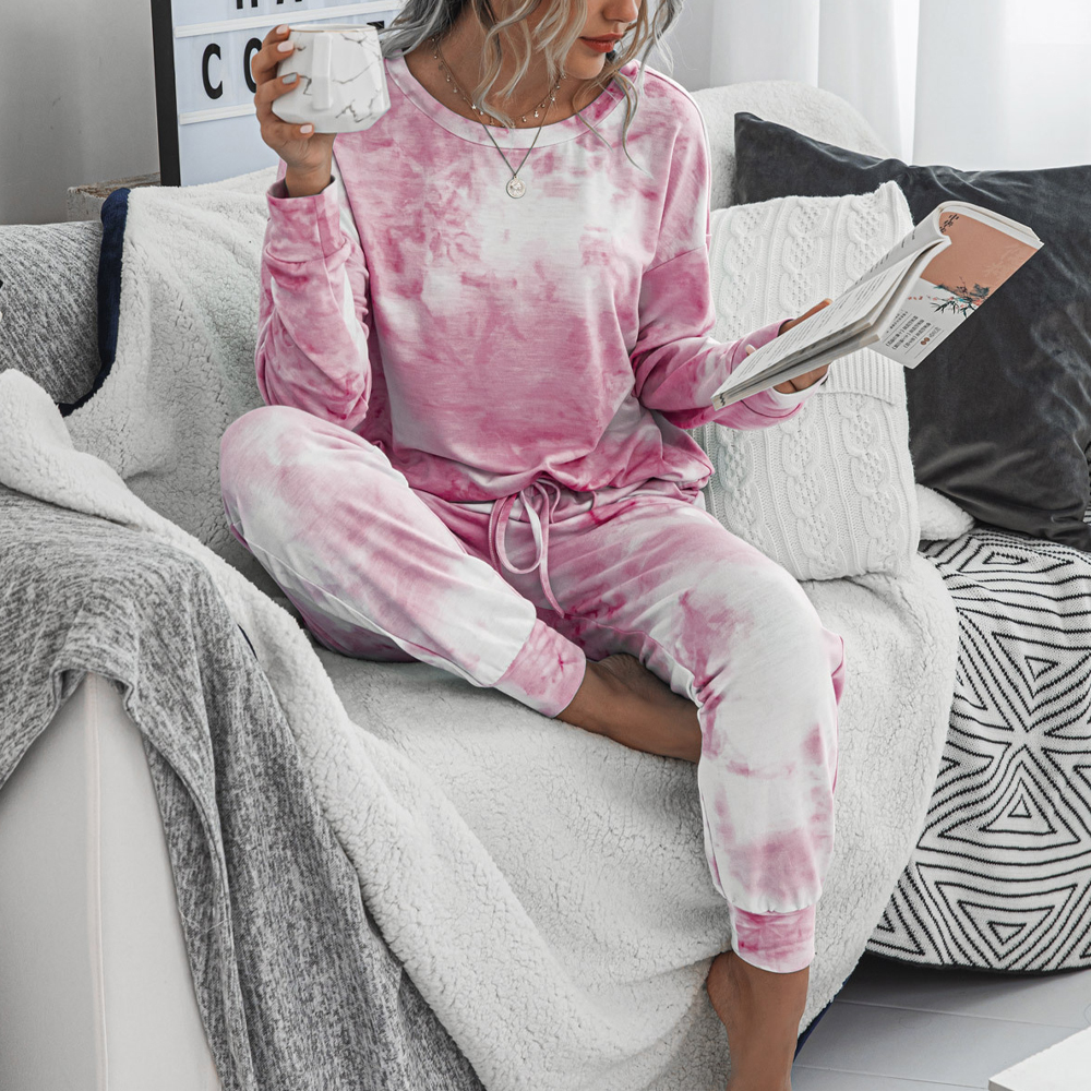 Women 2 Piece Tie Dye Sweatsuit Set Long Sleeve Pullover And Drawstring Sweatpants Sets 2020