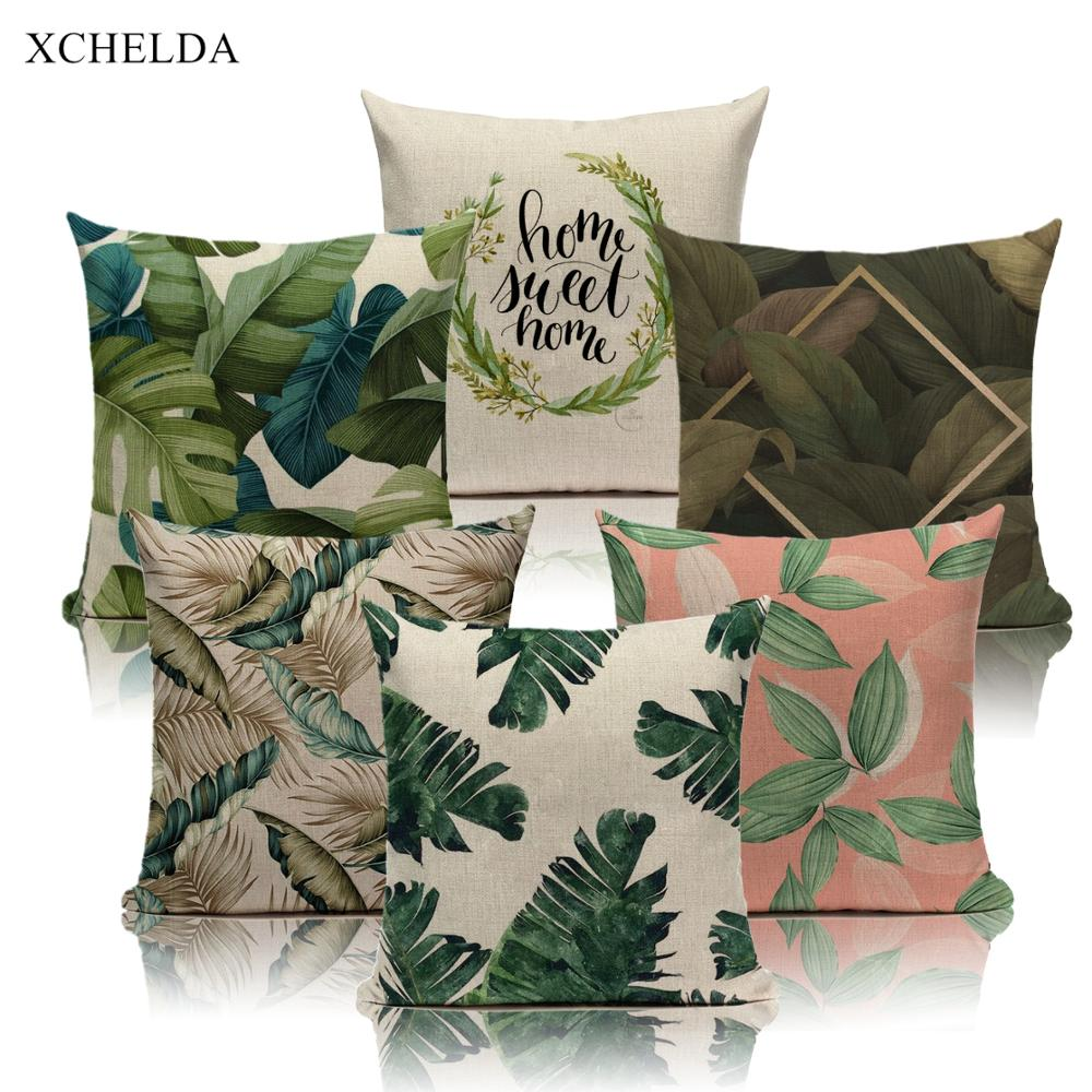 Fur Linen Cushion Cover Decorative Scandinavian Pillowcase Tropical Botanic Leaves 45*45 40*40 For Bedroom Green Pillow Case