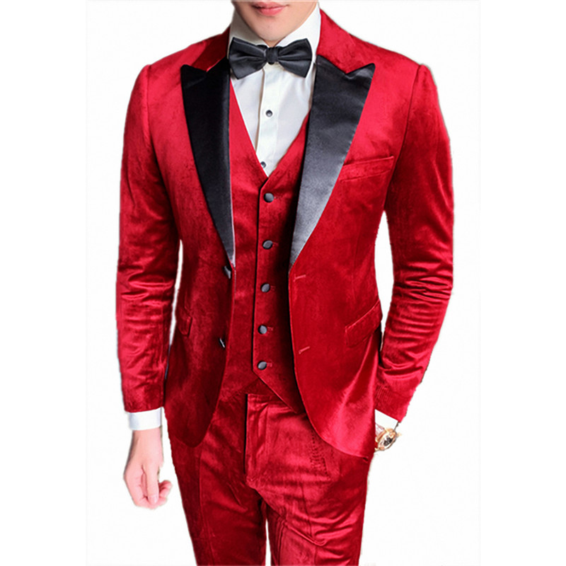 Nobility 2019 New Mens Velvet Wedding Tuxedo Suits Two Buttons Customized Suits For Church Lapel Blazer Jacket For Work