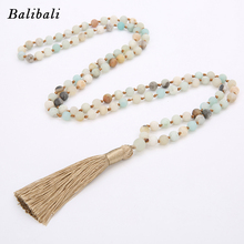 BALIBALI 4mm/6mm/8mm Matte Amazonite Bead Necklace Hand Knotted 108 Mala Beads Necklace Yoga Meditation Jewelry Tassel Necklace csja long necklace collier silk tassel pendant knotted abalone shell 4mm matte crystal faceted beads charm jewelry handmade s055