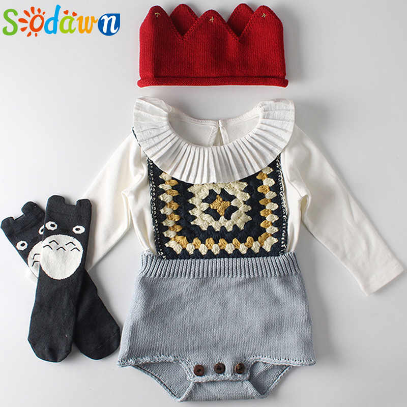 Sodawn 2019 Winter Baby Girl Sweater Suit Cute Easter Retro Knitting Pullover Fall Romper Jumpsuit+Long Sleeve Tops Clothing Set