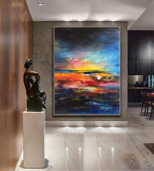 Oversize Painting Abstract Painting Large Colorful Painting Sunset Painting Canvas Blue Painting Orange Painting Canvas Painting