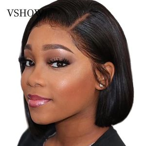 VSHOW 13x4 Straight Short Bob Wigs Pre Plucked With Baby Hair HD Transparent 150% 180% Density Lace Front Wig Remy Human Hair(China)