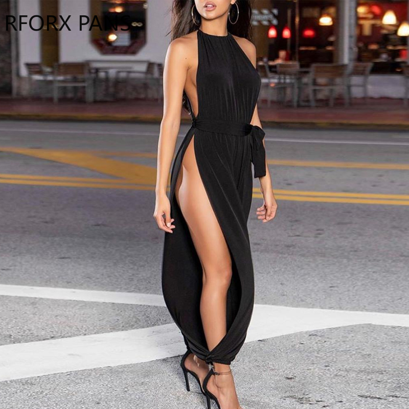 Solid Sleeveless Ruched Slit Jumpsuit Sexy Jumpsuit  For Women 2020