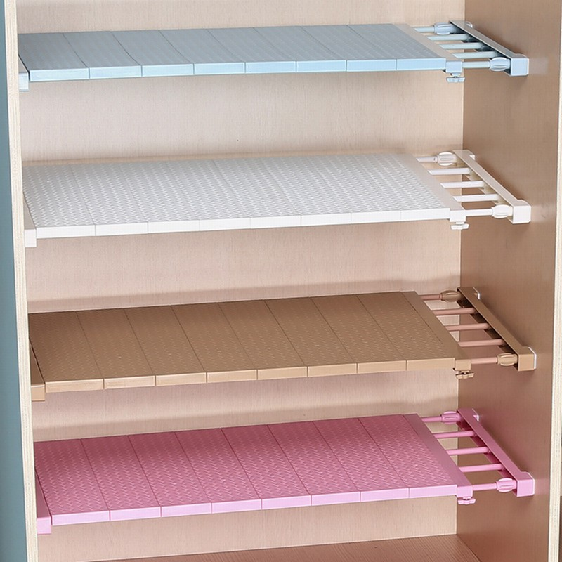 1Pc Adjustable Closet Organizer Storage Shelf Wall Mounted Kitchen Rack Space Saving Wardrobe Decor Shelves Home Accessories