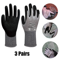 3 Pairs Anti cut Gloves Working Safety Glove Cut Proof Cut Heat Stab Resistant Fire Durable Hand Gloves