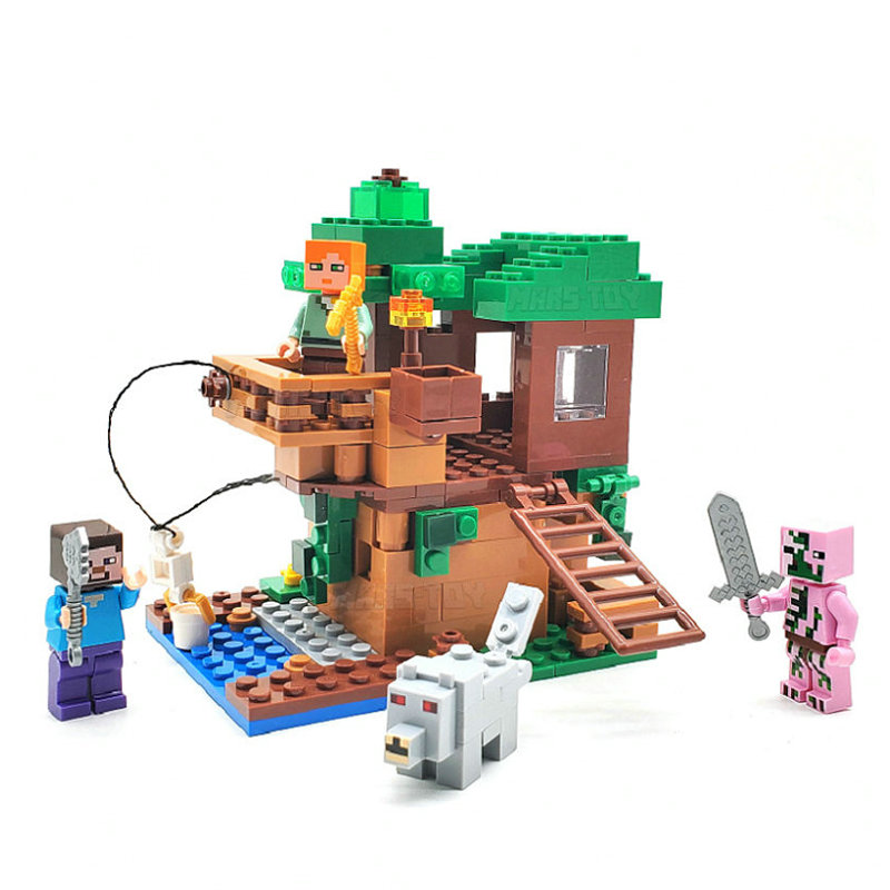 Small Tree House Set Building Block With Alex Steve Action Figures Compatible MinecraftINGlys My World Bricks Set For Gift Toys 1