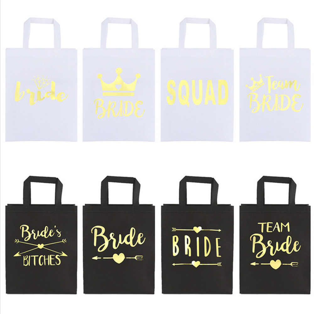 Team Bride To Be Non-woven Bags Wedding Decorations Gifts for Guests Holder Bag Bachelorette Hen Party Hen Night Decor Supplies