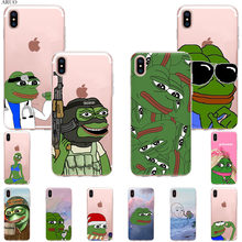 Cute Sad Frog pepe meme patterned SOFT TPU Silicone Case for iphone 11 11Pro XSMax X XR XS 7 8 6s Plus 5s fashion Phone cover(China)