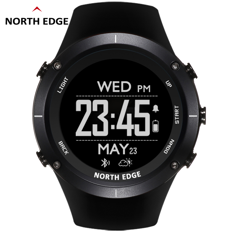 NORTH EDGE Men's Sport Digital Watch GPS Heart Rate Running Swimming Watches Altimeter Barometer Compass Thermometer Pedometer