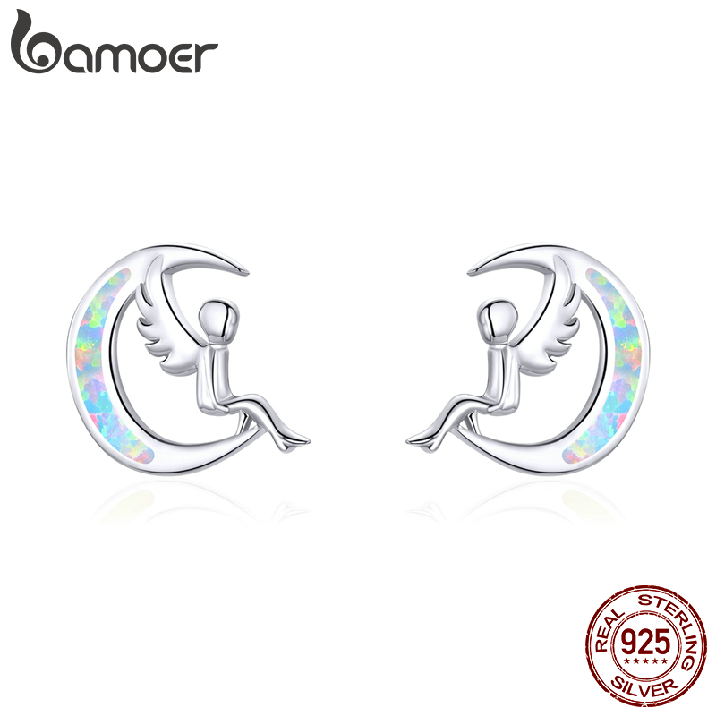 Bamoer Stud Earrings For Women 925 Sterling Silver Opal Moon And Elf Ear Stud Jewelry Brincos New Design Ear Accessories SCE854