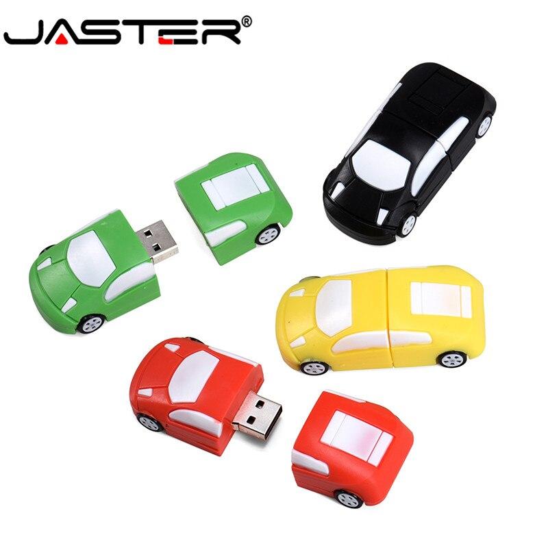 JASTER USB 2.0 Cartoon Car Model 4 Color Usb Flash Drive 4GB 8GB 16GB 32GB 64GB 128GB Pendrive Plastic Memory Stick