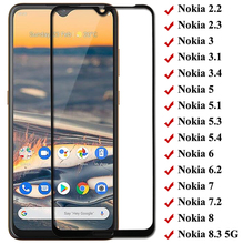 Full Cover Tempered Glass For Nokia 5.4 3.4 5.3 8.3 2.3 1.3 Screen Protector For Nokia 3 3.1 3.2 5 5.1 X5 6 6.1 6.2 7 7.1 7.2 8