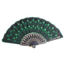 Folding Fan Hand-Fan Beautiful Gift Peacock Silk Women Ladies with Green Sequins Party-Favors