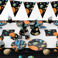 Space Planet Disposable Party Tableware Sets For Kids Birthday Party Decorations Universe Napkin Plate Cup Banner Party Supplies