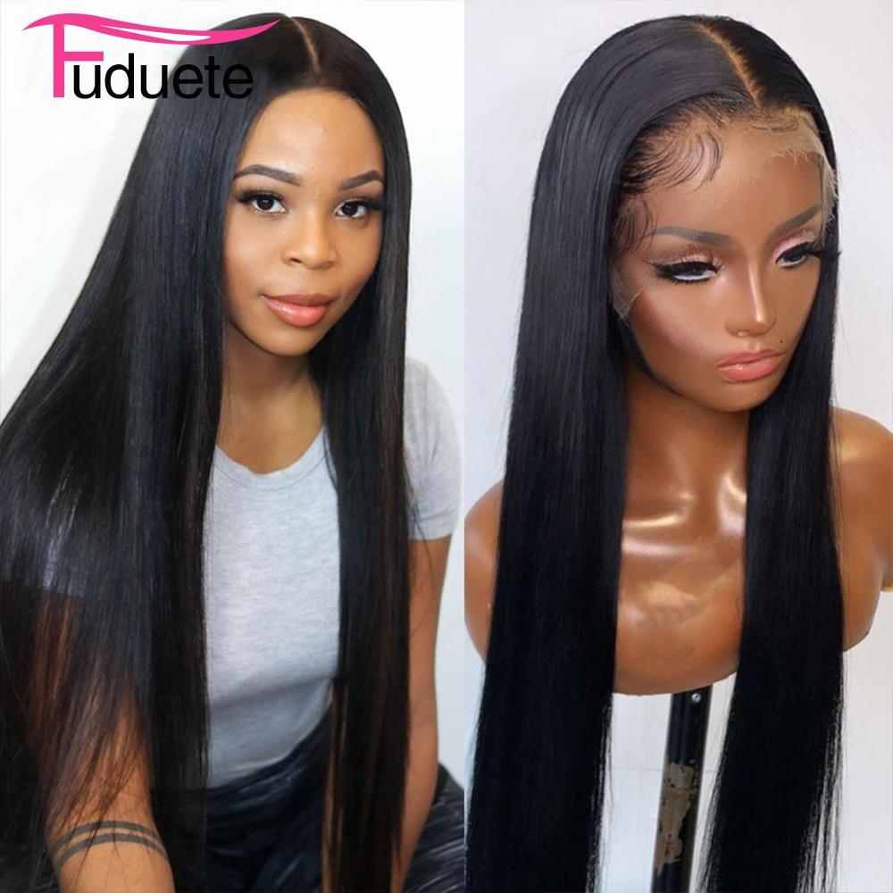 Прямой парик Fuduete 13x6 на сетке спереди, прозрачные парики на сетке 13x4, парик на сетке спереди, индийские человеческие волосы, парики Remy 5x 5/4x4