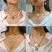2019 New Multi-layer Necklace Retro Simple Irregular Human Head Seal Faux Pearl Double Layer Necklace Hot Sale Free Shipping цены