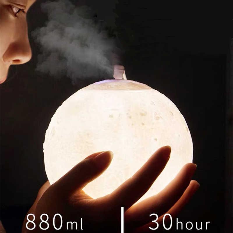 880 Ml Mặt Trăng Hương Thơm Máy Phun Sương Tạo Ẩm Khuếch Tán Tinh Dầu Lọc Không Khí Siêu Âm Sương Tạo Ẩm Cho Gia Đình & Văn Phòng Xông Phòng