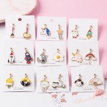 Корейские серьги-подвески, серьги для женщин, Алиса, кролик, единорог, цветок, астронавт, радуга, жираф, ракета, серьги-гвоздики, ювелирные изделия