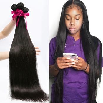 28 30 32 34 40 Inch Straight Brazilian Hair Weaves Bundles 3 4 Bundles Human Hair Bundles Single Bundles Remy Hair Extensions