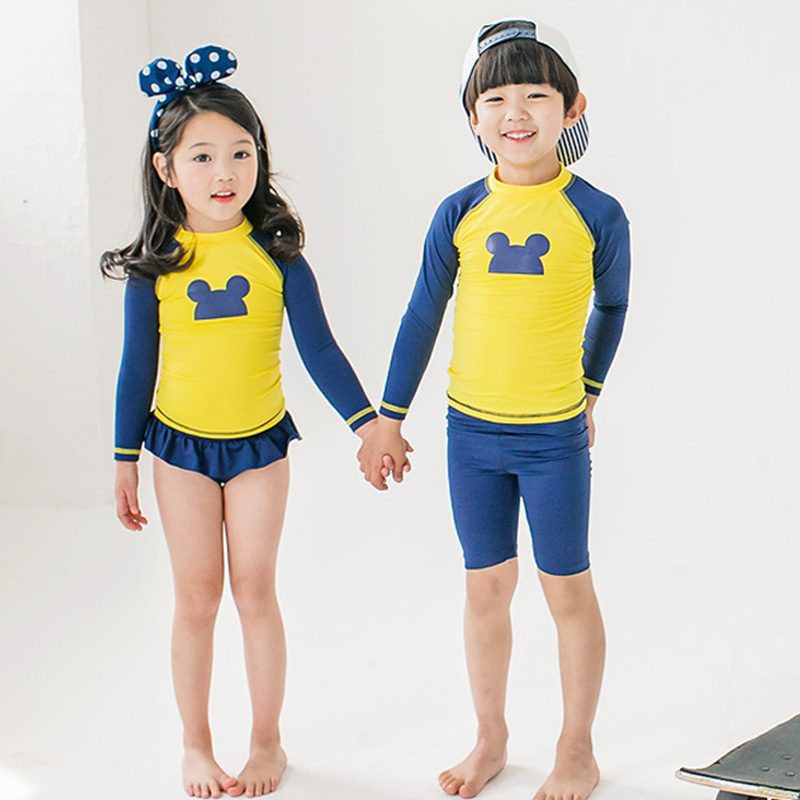 KID'S Swimwear Men And Women Children Girls Sun-resistant Long Sleeve Split Type Tour Bathing Suit Big Boy Quick Service Swimwea