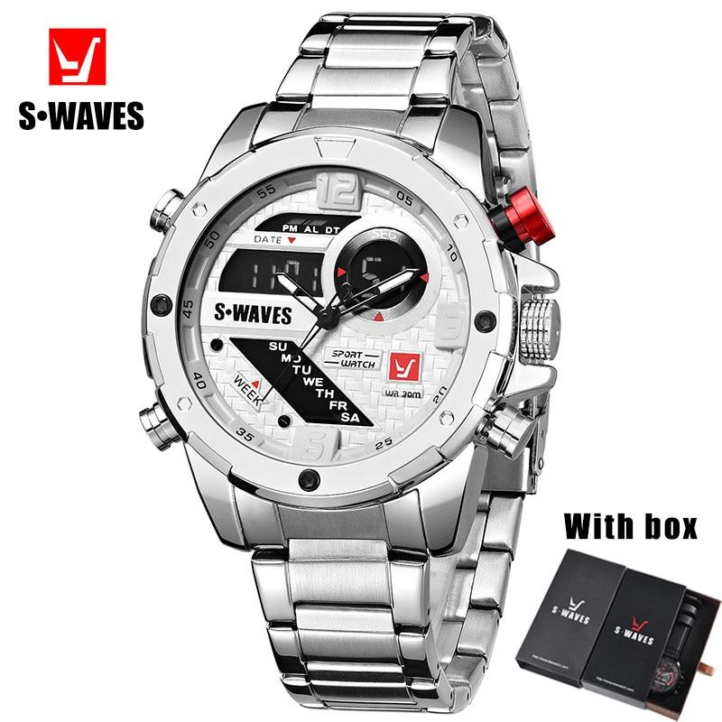 Swaves Mens Watches With Box Dual Display Waterproof Military Stainless Steel Watch Men Luxury Digital Analog Relogios Masculino