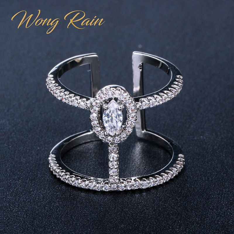 Wong Rain 100% 925 Sterling Silver Created Moissanite Gemstone Wedding Engagement Opening Ring Fine Jewelry Wholesale One Size
