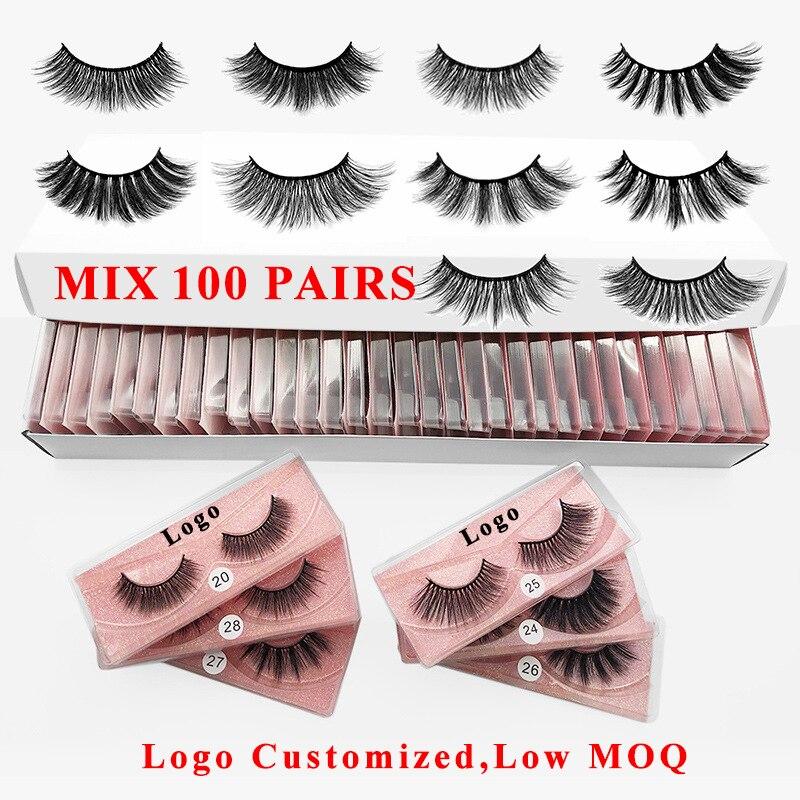 logotipo personalizado mix estilo 20 50 100 pares 3d cilios posticos venda em massa natural longo