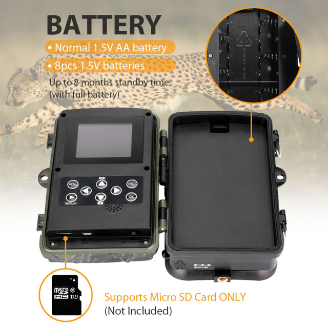 Hunting Camera Trail Cameras HC-801B 64GB 16MP 1080P IP65 Photo Trap 0.3s Trigger Wildlife Surveillance Cams Track 3