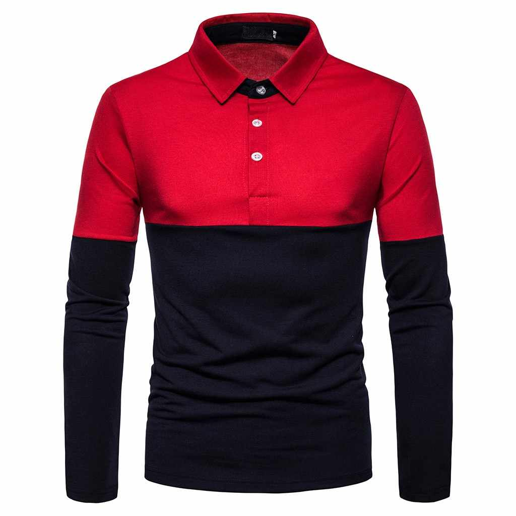 2019 Hot Mens Polo Shirt Brands Male Long Sleeve Fashion Casual Slim Black Embroidery Printing Slim Fit Polos Men Jerseys