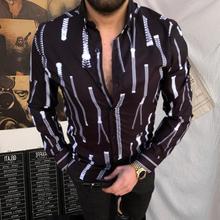 Рубашка отложной воротник универсальный мужской полосатый принт длинный рукав повседневный рубашки для вечеринки