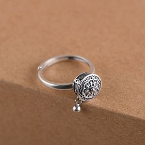 Image 4 - GAGAFEEL Retro Thai Silver Ring Womens Six word Mantra Open Ring Prayer Wheel Design Jewelry S925 Sterling Silver Rings