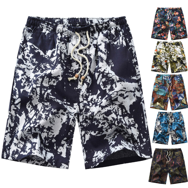 2020 New Products Large Size Men's Printed Beach Shorts Western Style Bermuda Shorts